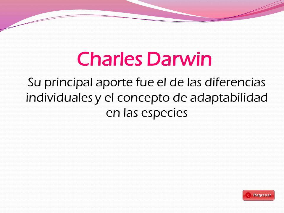 Su principal aporte fue el de las diferencias individuales y el concepto de adaptabilidad en las especies