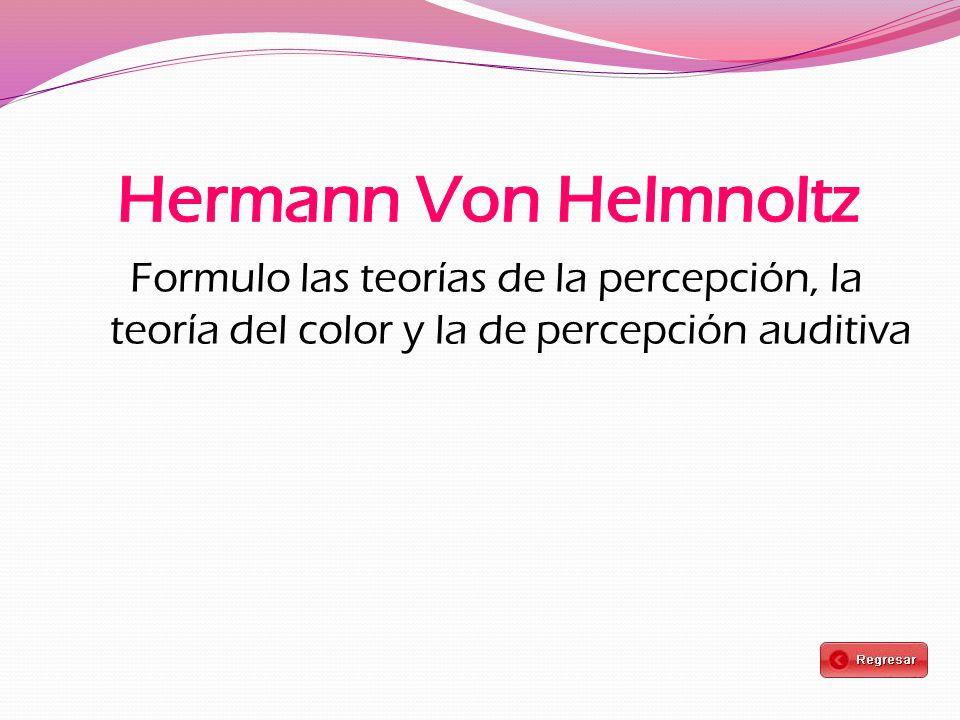 Formulo las teorías de la percepción, la teoría del color y la de percepción auditiva