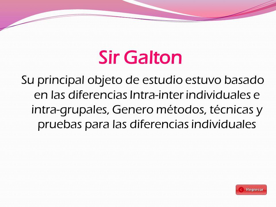 Su principal objeto de estudio estuvo basado en las diferencias Intra-inter individuales e intra-grupales, Genero métodos, técnicas y pruebas para las diferencias individuales
