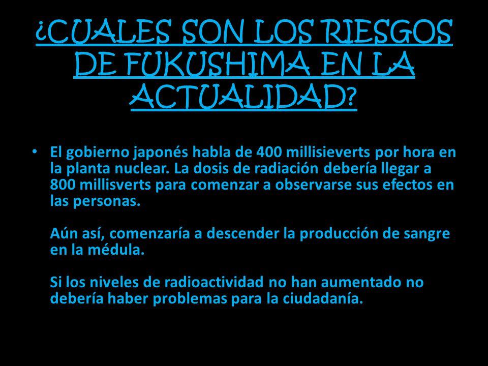 ¿CUALES SON LOS RIESGOS DE FUKUSHIMA EN LA ACTUALIDAD? El gobierno japonés habla de 400 millisieverts por hora en la planta nuclear. La dosis de radia