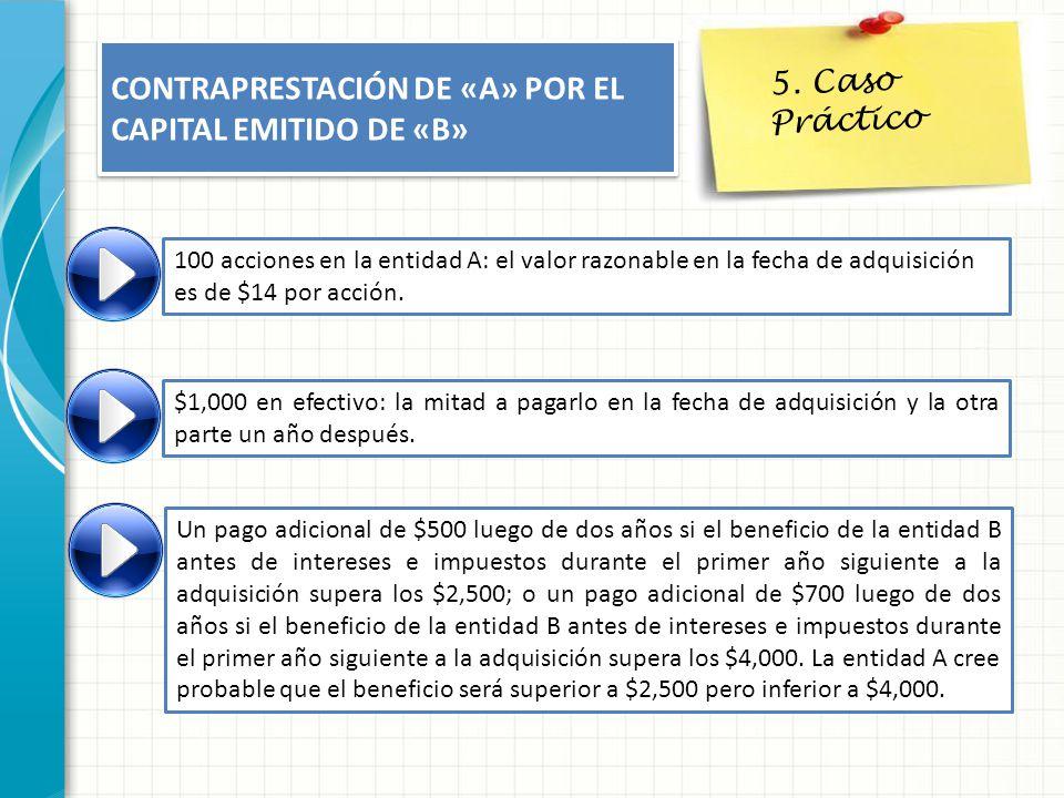 5. Caso Práctico CONTRAPRESTACIÓN DE «A» POR EL CAPITAL EMITIDO DE «B» 100 acciones en la entidad A: el valor razonable en la fecha de adquisición es