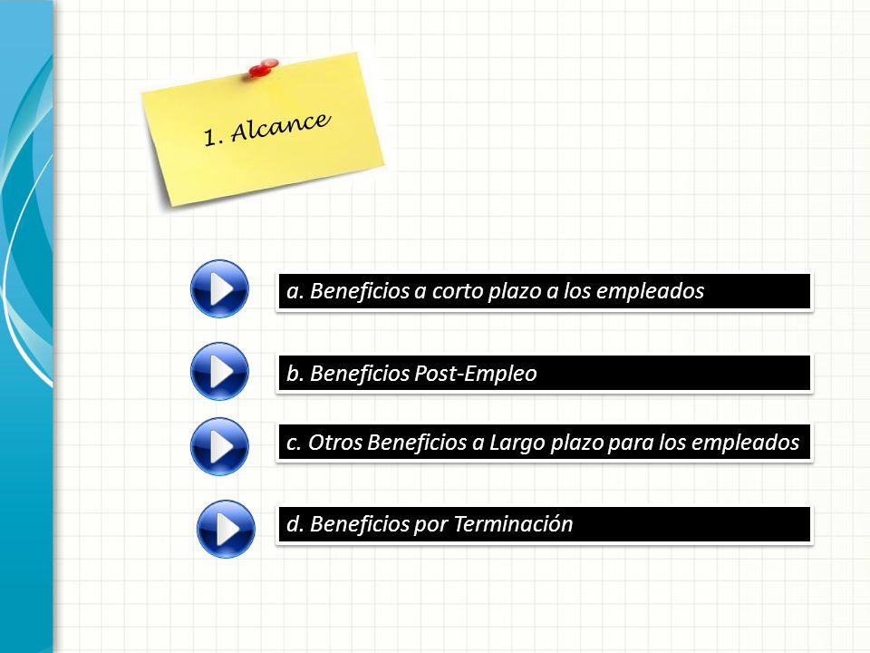 a. Beneficios a corto plazo a los empleados b. Beneficios Post-Empleo c. Otros Beneficios a Largo plazo para los empleados d. Beneficios por Terminaci