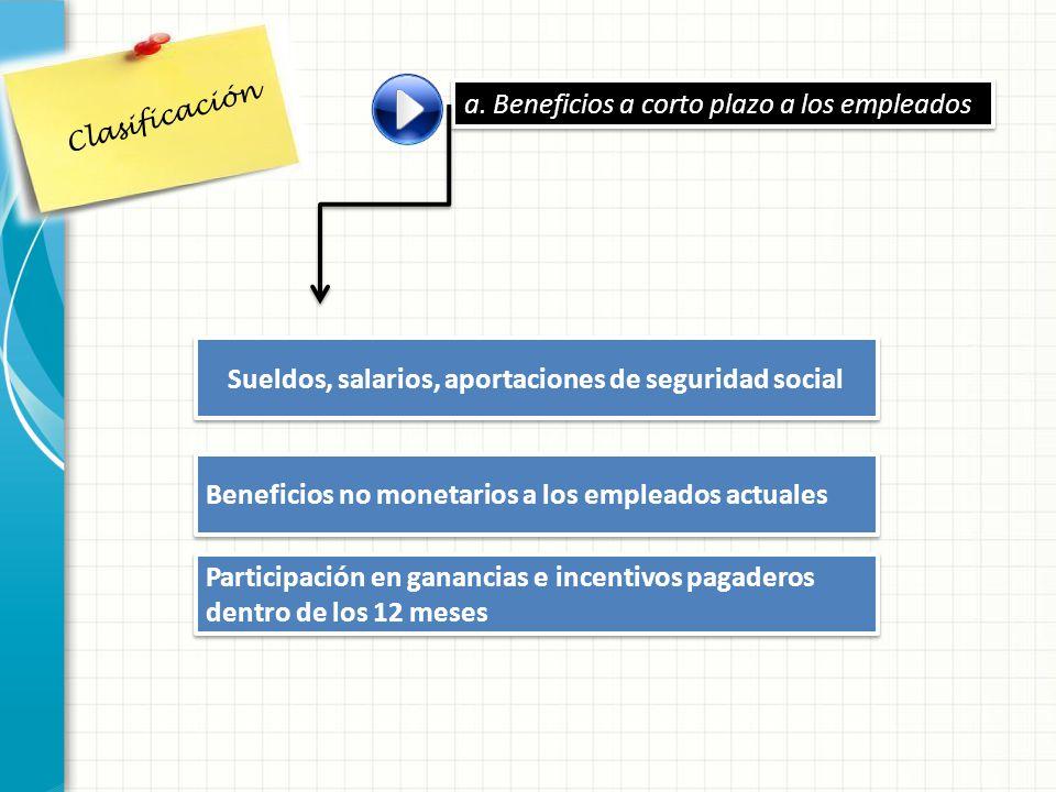 Sueldos, salarios, aportaciones de seguridad social a. Beneficios a corto plazo a los empleados Beneficios no monetarios a los empleados actuales Part