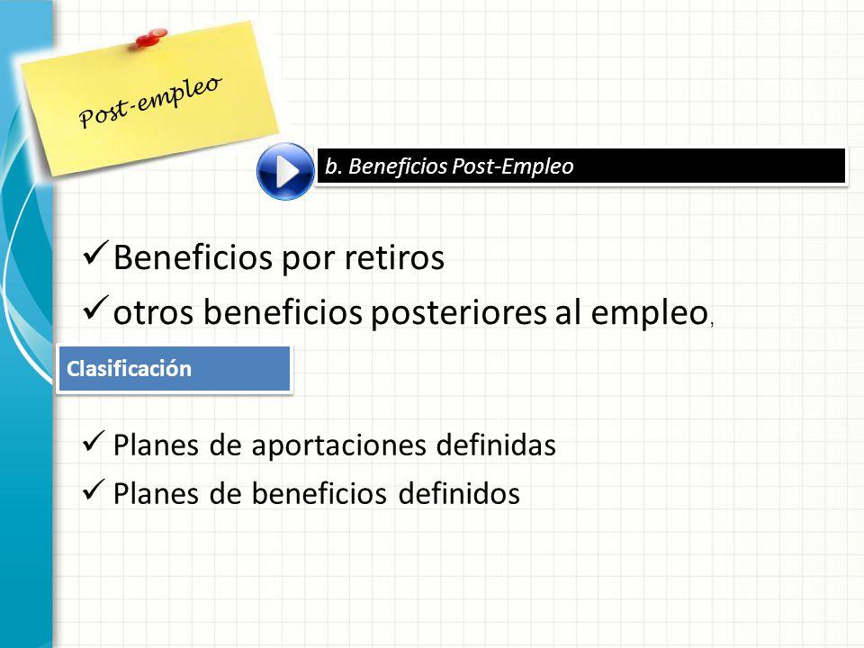 b. Beneficios Post-Empleo Post-empleo Beneficios por retiros otros beneficios posteriores al empleo, Clasificación Planes de aportaciones definidas Pl