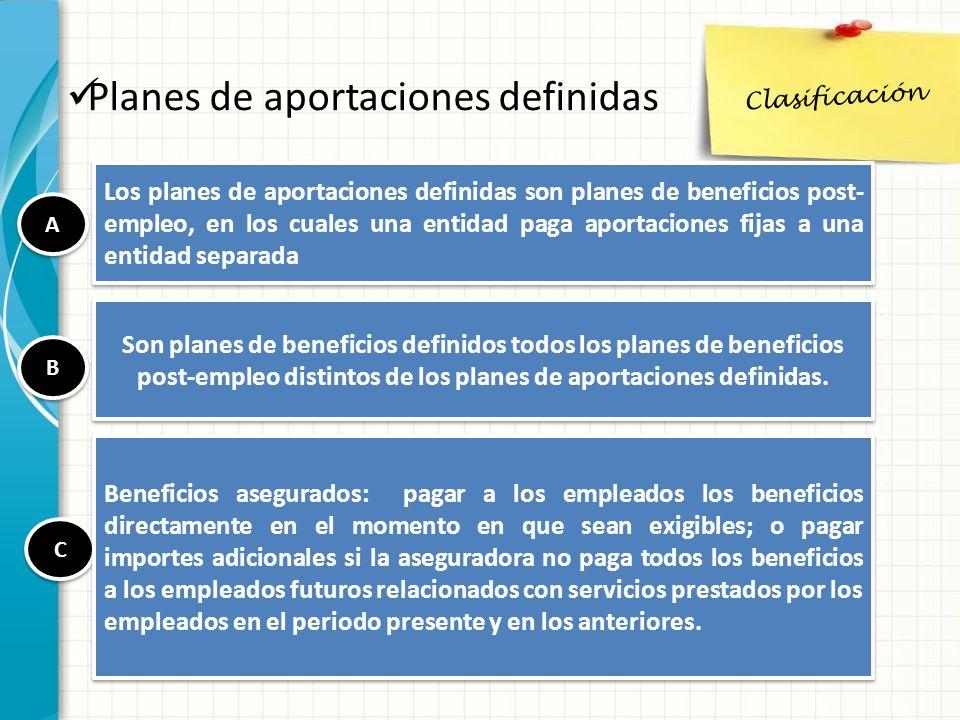 Clasificación Planes de aportaciones definidas Los planes de aportaciones definidas son planes de beneficios post- empleo, en los cuales una entidad p