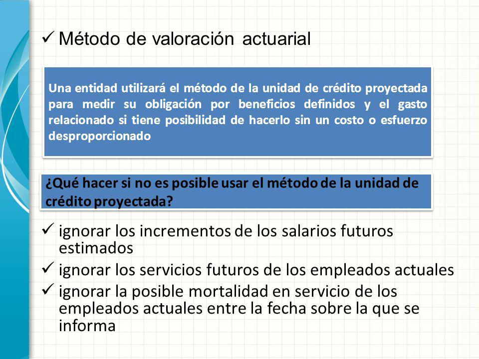 Método de valoración actuarial Una entidad utilizará el método de la unidad de crédito proyectada para medir su obligación por beneficios definidos y
