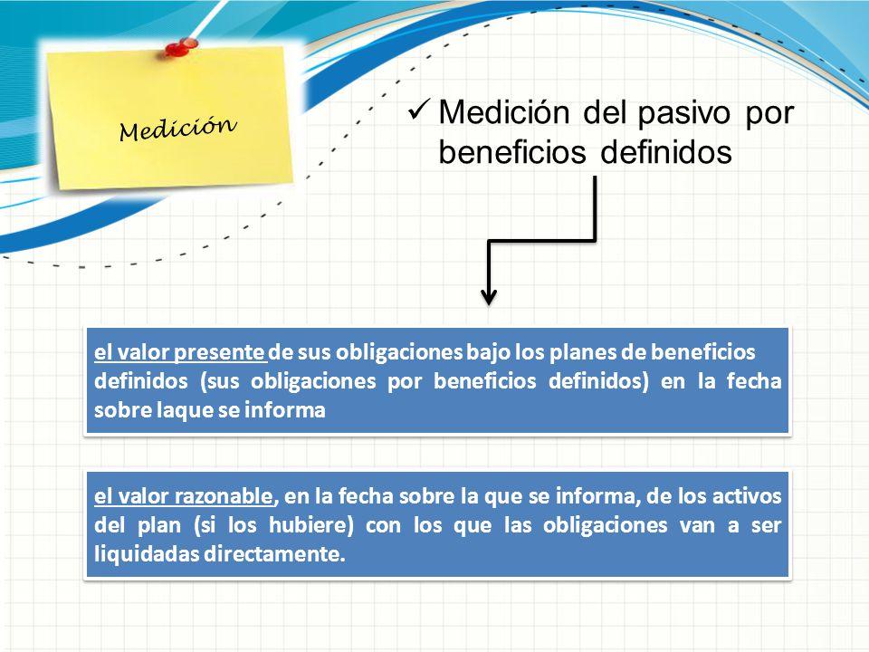 Medición Medición del pasivo por beneficios definidos el valor presente de sus obligaciones bajo los planes de beneficios definidos (sus obligaciones