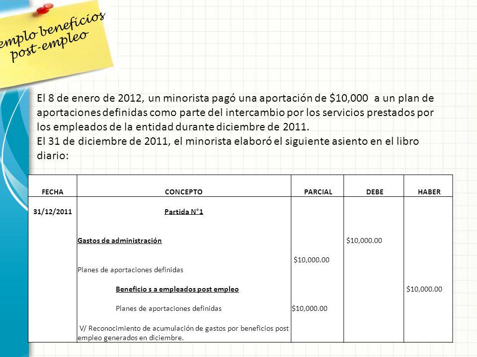 El 8 de enero de 2012, un minorista pagó una aportación de $10,000 a un plan de aportaciones definidas como parte del intercambio por los servicios pr