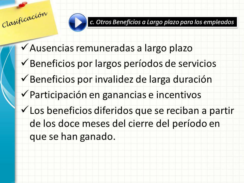 Ausencias remuneradas a largo plazo Beneficios por largos períodos de servicios Beneficios por invalidez de larga duración Participación en ganancias