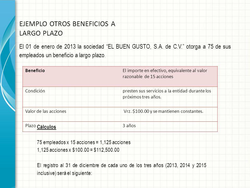 EJEMPLO OTROS BENEFICIOS A LARGO PLAZO El 01 de enero de 2013 la sociedad EL BUEN GUSTO, S.A. de C.V. otorga a 75 de sus empleados un beneficio a larg