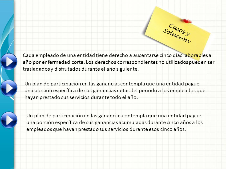 Casos y Solución Cada empleado de una entidad tiene derecho a ausentarse cinco días laborables al año por enfermedad corta. Los derechos correspondien