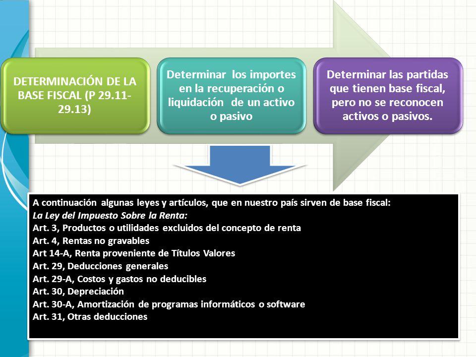 DETERMINACIÓN DE LA BASE FISCAL (P 29.11- 29.13) Determinar los importes en la recuperación o liquidación de un activo o pasivo Determinar las partida
