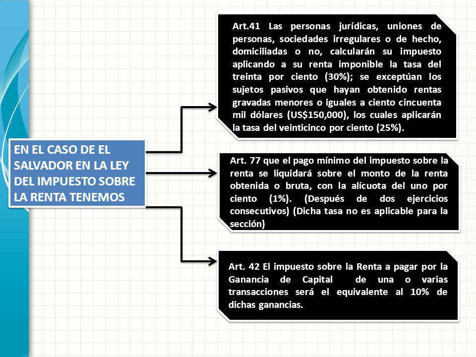 EN EL CASO DE EL SALVADOR EN LA LEY DEL IMPUESTO SOBRE LA RENTA TENEMOS Art.41 Las personas jurídicas, uniones de personas, sociedades irregulares o d