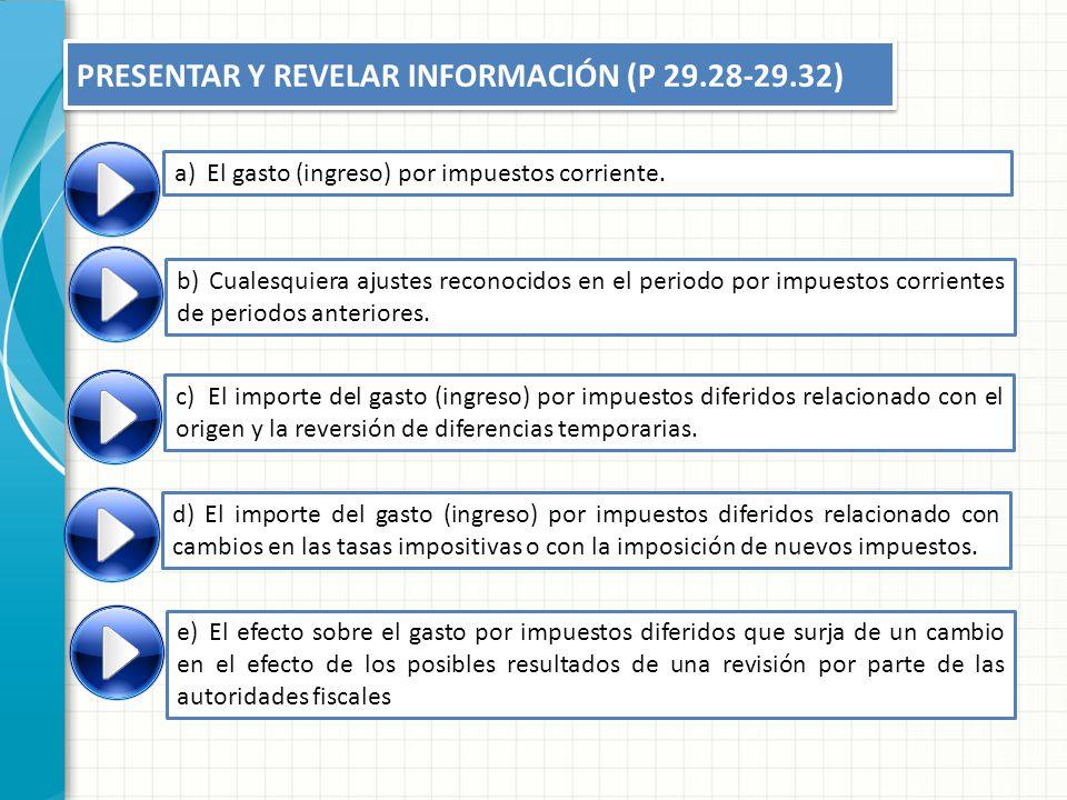 PRESENTAR Y REVELAR INFORMACIÓN (P 29.28-29.32) a)El gasto (ingreso) por impuestos corriente. b)Cualesquiera ajustes reconocidos en el periodo por imp