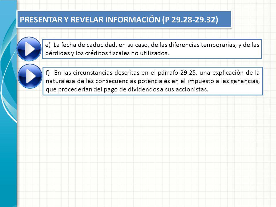 e)La fecha de caducidad, en su caso, de las diferencias temporarias, y de las pérdidas y los créditos fiscales no utilizados. f)En las circunstancias