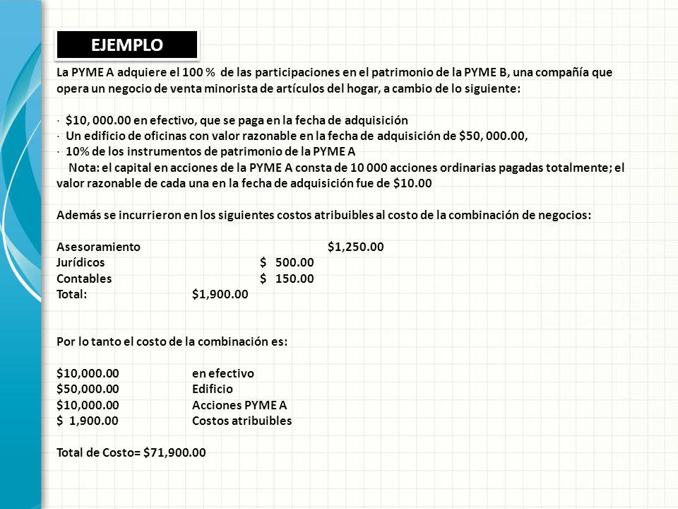 La PYME A adquiere el 100 % de las participaciones en el patrimonio de la PYMEB, una compañía que opera un negocio de venta minorista de artículos del