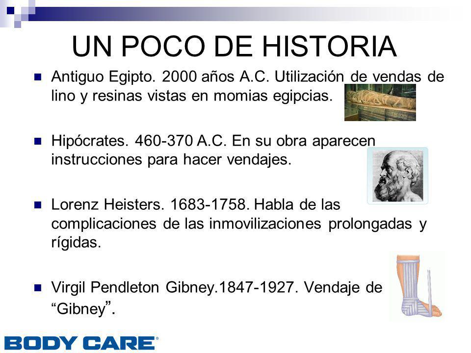 UN POCO DE HISTORIA Antiguo Egipto. 2000 años A.C. Utilización de vendas de lino y resinas vistas en momias egipcias. Hipócrates. 460-370 A.C. En su o
