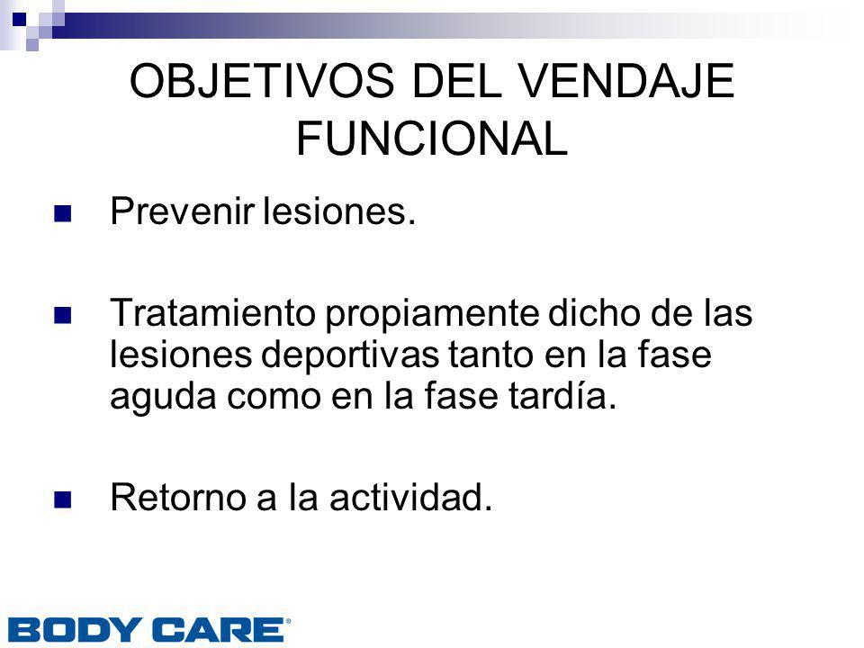 OBJETIVOS DEL VENDAJE FUNCIONAL Prevenir lesiones. Tratamiento propiamente dicho de las lesiones deportivas tanto en la fase aguda como en la fase tar