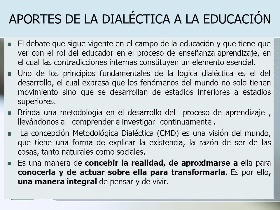 APORTES DE LA DIALÉCTICA A LA EDUCACIÓN El debate que sigue vigente en el campo de la educación y que tiene que ver con el rol del educador en el proc