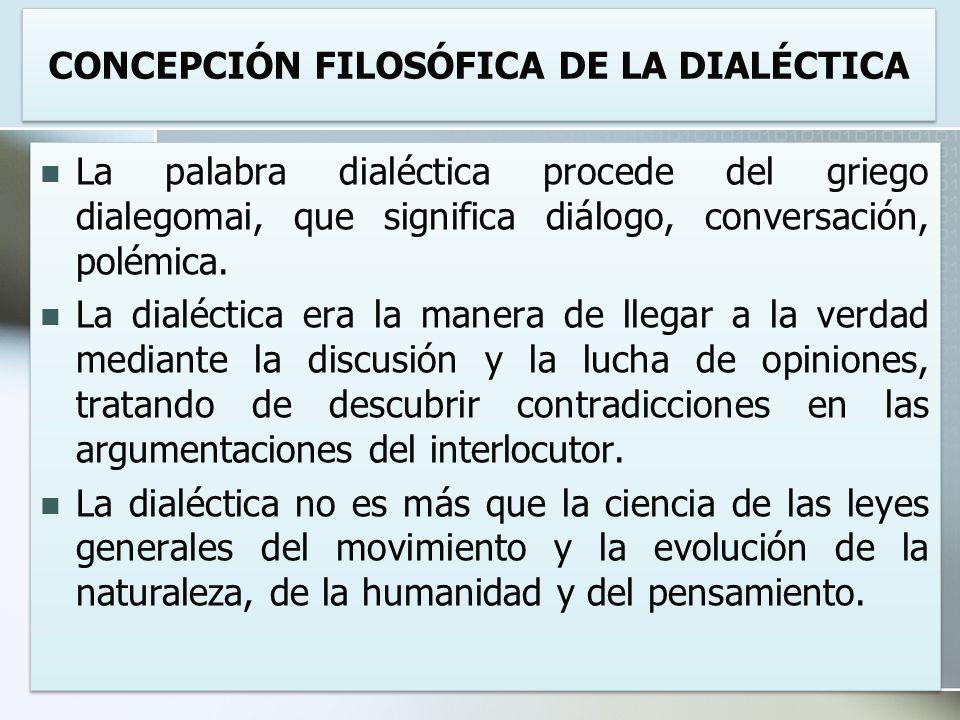 CONCEPCIÓN FILOSÓFICA DE LA DIALÉCTICA La palabra dialéctica procede del griego dialegomai, que significa diálogo, conversación, polémica. La dialécti