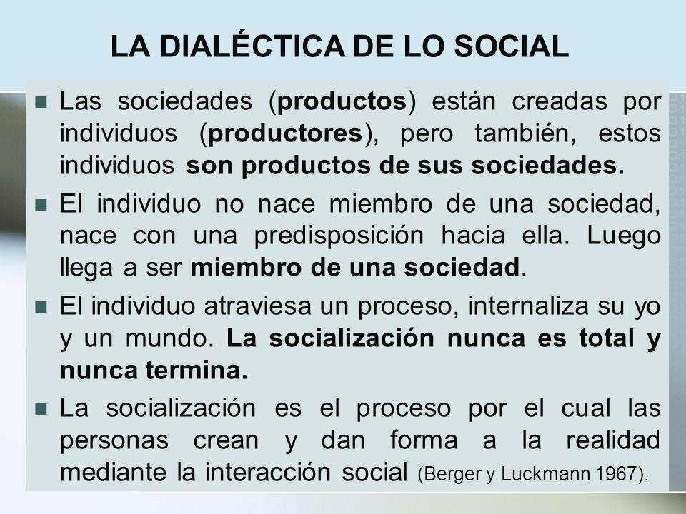 LA DIALÉCTICA DE LO SOCIAL Las sociedades (productos) están creadas por individuos (productores), pero también, estos individuos son productos de sus