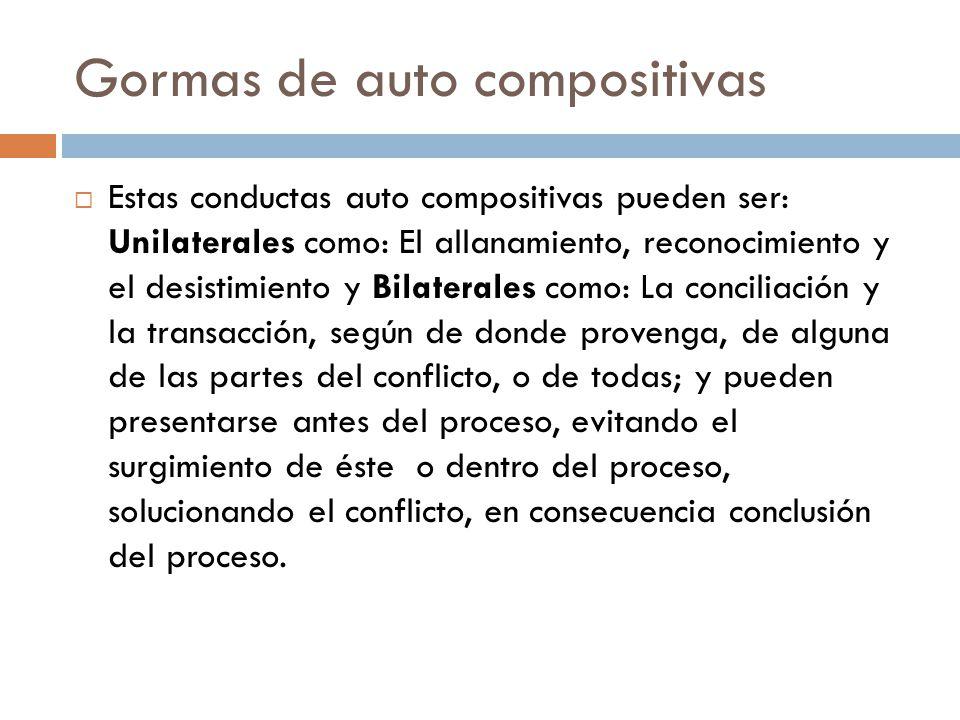 Gormas de auto compositivas Estas conductas auto compositivas pueden ser: Unilaterales como: El allanamiento, reconocimiento y el desistimiento y Bila