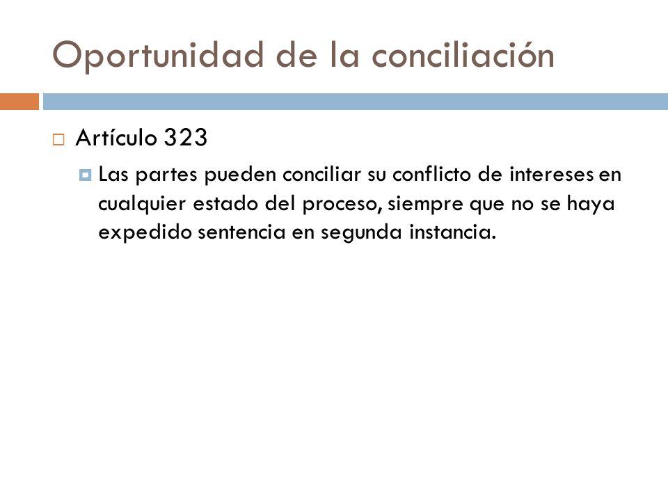 Oportunidad de la conciliación Artículo 323 Las partes pueden conciliar su conflicto de intereses en cualquier estado del proceso, siempre que no se h