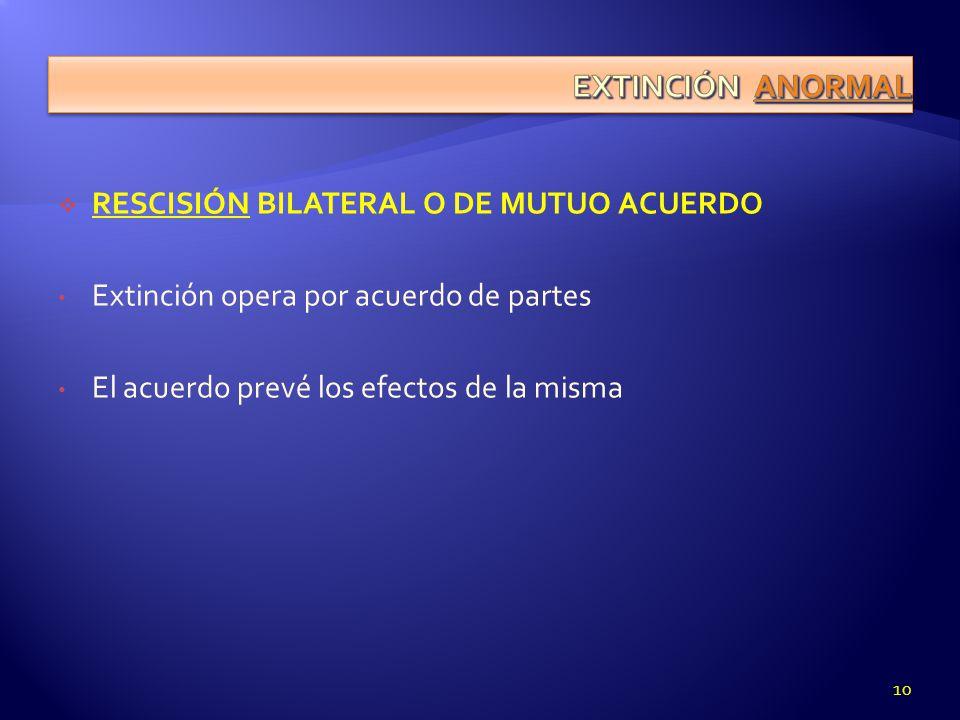 RESCISIÓN BILATERAL O DE MUTUO ACUERDO Extinción opera por acuerdo de partes El acuerdo prevé los efectos de la misma 10