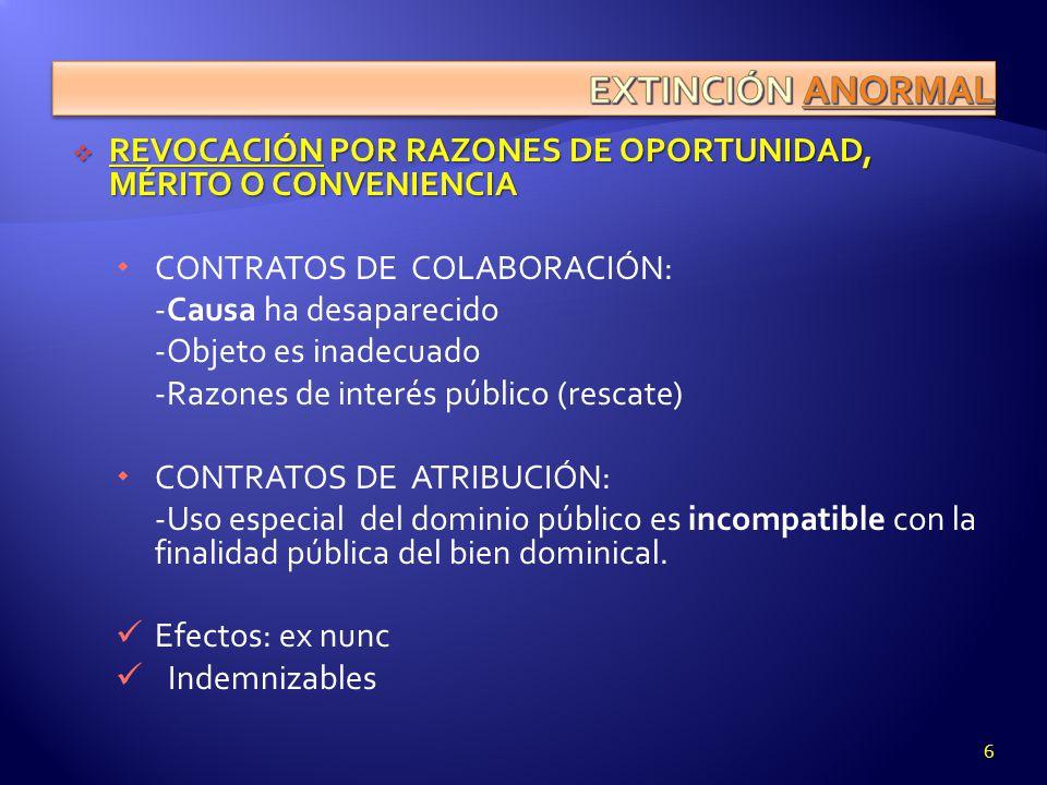 REVOCACIÓN POR RAZONES DE OPORTUNIDAD, MÉRITO O CONVENIENCIA REVOCACIÓN POR RAZONES DE OPORTUNIDAD, MÉRITO O CONVENIENCIA CONTRATOS DE COLABORACIÓN: -