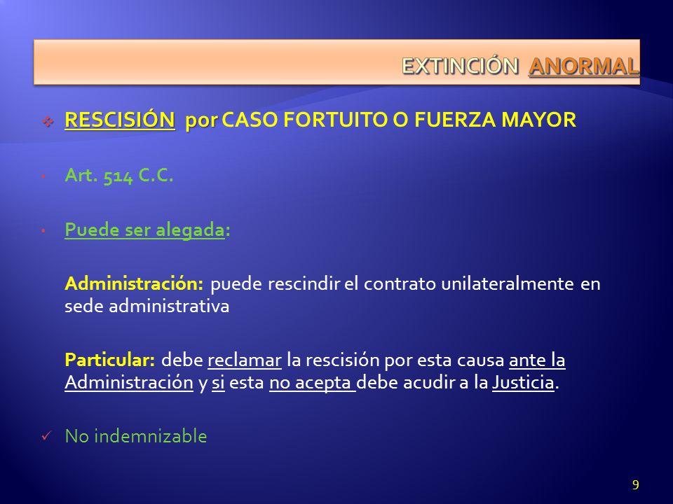 RESCISIÓN por RESCISIÓN por CASO FORTUITO O FUERZA MAYOR Art. 514 C.C. Puede ser alegada: Administración: puede rescindir el contrato unilateralmente