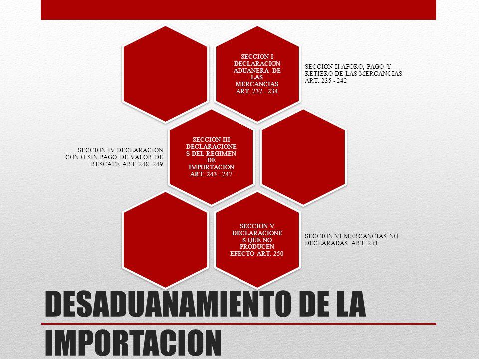 DESADUANAMIENTO DE LA IMPORTACION SECCION I DECLARACION ADUANERA DE LAS MERCANCIAS ART. 232 - 234 SECCION II AFORO, PAGO Y RETIERO DE LAS MERCANCIAS A
