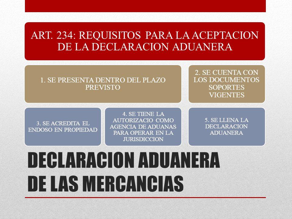 ART. 234: REQUISITOS PARA LA ACEPTACION DE LA DECLARACION ADUANERA 1. SE PRESENTA DENTRO DEL PLAZO PREVISTO 3. SE ACREDITA EL ENDOSO EN PROPIEDAD 4. S
