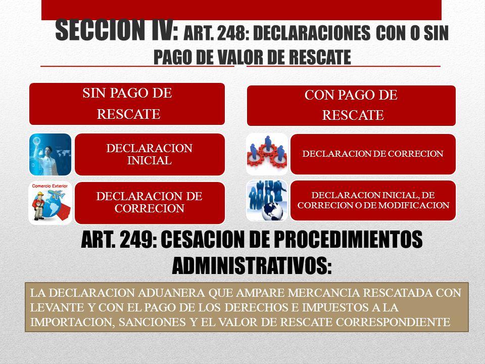 SECCION IV: ART. 248: DECLARACIONES CON O SIN PAGO DE VALOR DE RESCATE SIN PAGO DE RESCATE DECLARACION INICIAL DECLARACION DE CORRECION CON PAGO DE RE