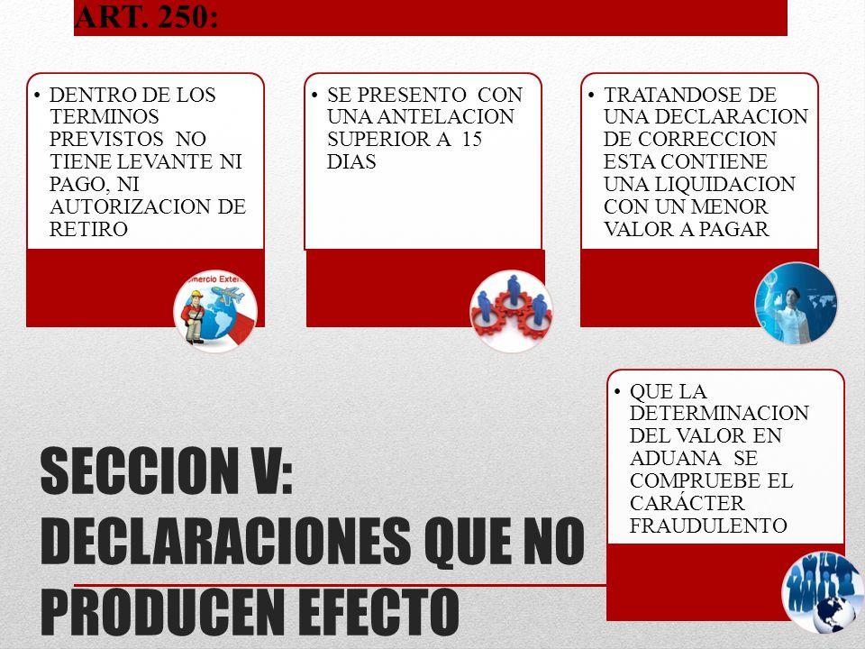 SECCION V: DECLARACIONES QUE NO PRODUCEN EFECTO DENTRO DE LOS TERMINOS PREVISTOS NO TIENE LEVANTE NI PAGO, NI AUTORIZACION DE RETIRO SE PRESENTO CON U