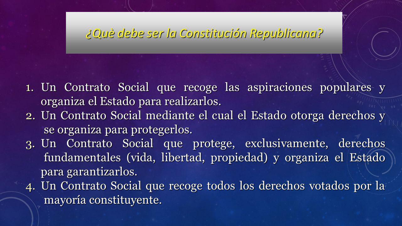 1.Un Contrato Social que recoge las aspiraciones populares y organiza el Estado para realizarlos. 2.Un Contrato Social mediante el cual el Estado otor
