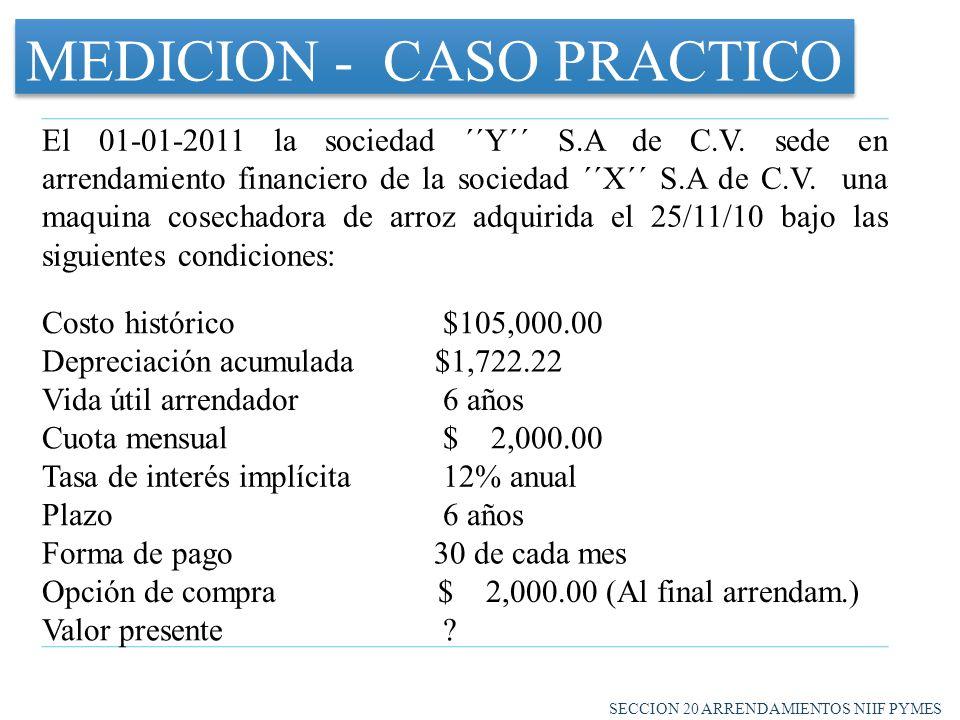 MEDICION - CASO PRACTICO El 01-01-2011 la sociedad ´´Y´´ S.A de C.V.