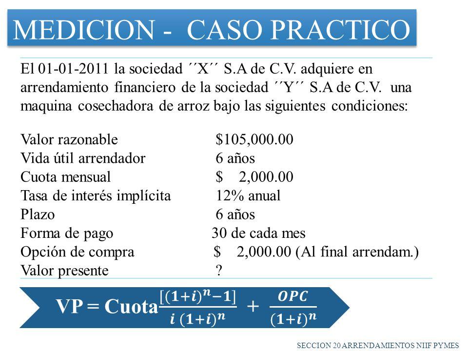 MEDICION - CASO PRACTICO El 01-01-2011 la sociedad ´´X´´ S.A de C.V.