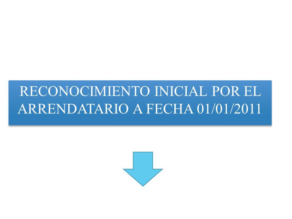 RECONOCIMIENTO FECHACONCEPTODEBEHABER 01/01/2011PARTIDA X PROPIEDAD PLANTA Y EQUIPO $103,277.78 Maquinaria en A/F CUENTAS POR PAGAR A/F C/P $ 12,266.80 CUENTAS POR PAGAR A/F L/P $ 91,010.98 Por reconocimiento y medición inicial de la maquina cosechadora de arroz recibida en arrendamiento financiero SECCION 20 ARRENDAMIENTOS NIIF PYMES