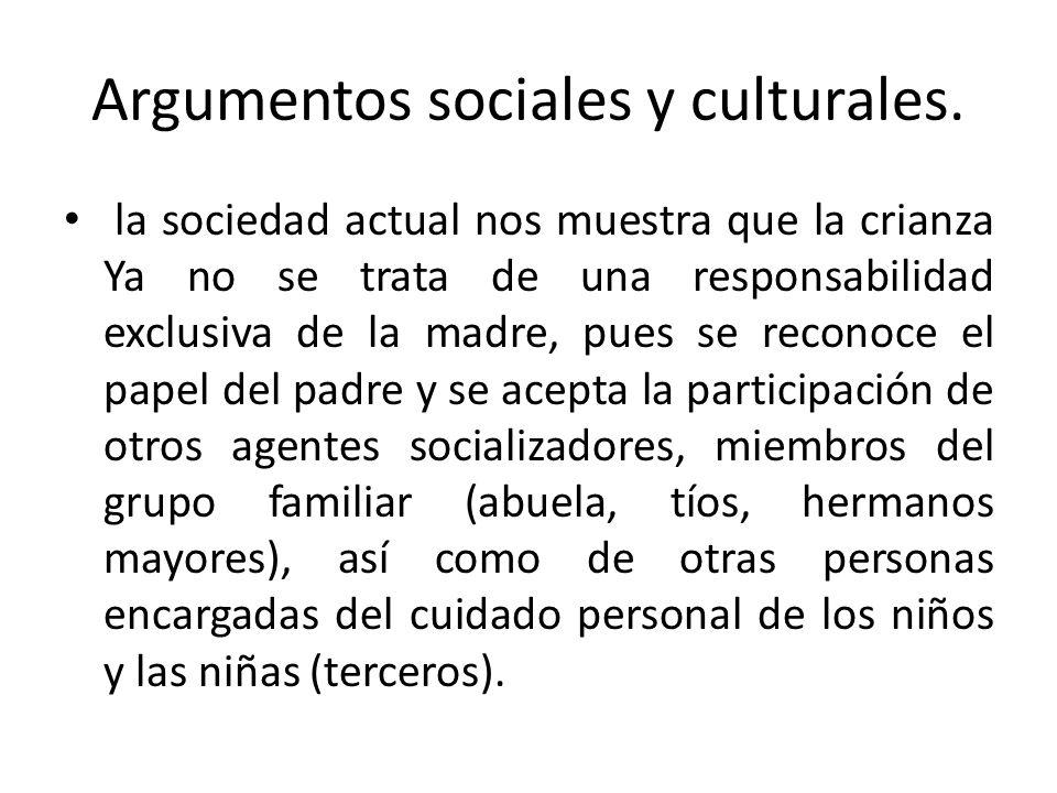 Argumentos sociales y culturales. la sociedad actual nos muestra que la crianza Ya no se trata de una responsabilidad exclusiva de la madre, pues se r