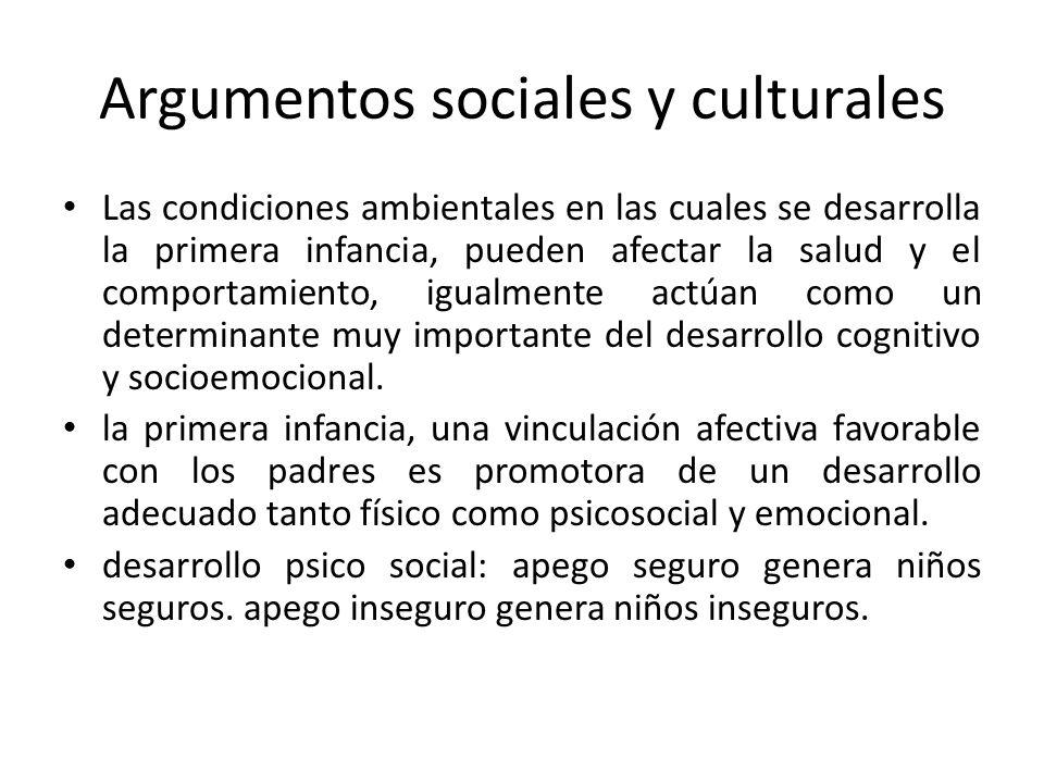 Argumentos sociales y culturales Las condiciones ambientales en las cuales se desarrolla la primera infancia, pueden afectar la salud y el comportamie