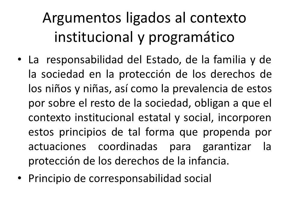Argumentos ligados al contexto institucional y programático La responsabilidad del Estado, de la familia y de la sociedad en la protección de los dere