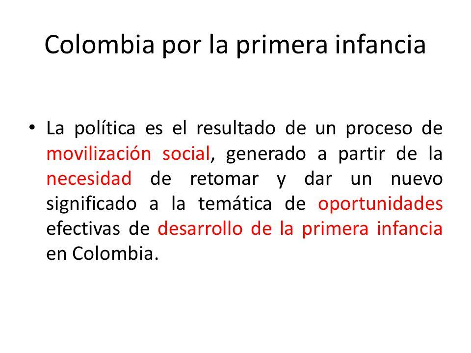 La Política de atención integral a la primera infancia en Colombia se enmarca en el Plan Nacional de Desarrollo y se refuerza por los compromisos adquiridos en la Convención Internacional sobre los Derechos de los Niños.