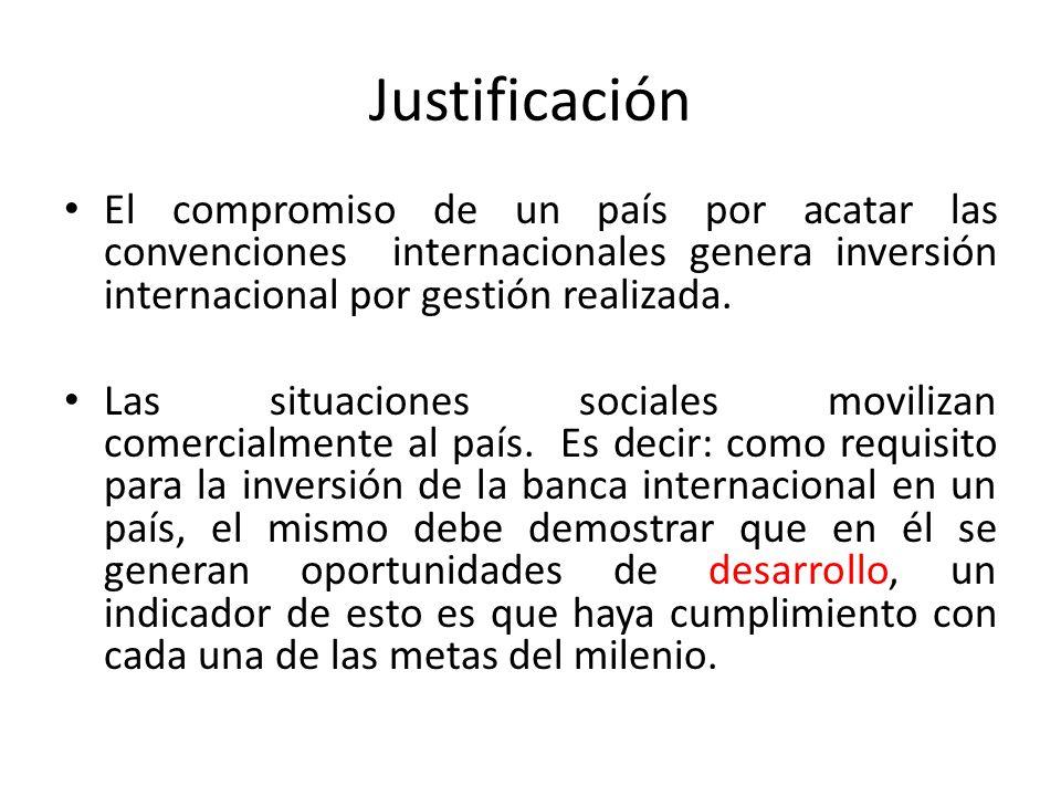 Justificación El compromiso de un país por acatar las convenciones internacionales genera inversión internacional por gestión realizada. Las situacion