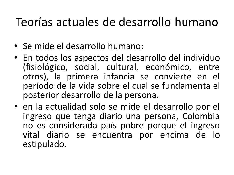 Teorías actuales de desarrollo humano Se mide el desarrollo humano: En todos los aspectos del desarrollo del individuo (fisiológico, social, cultural,