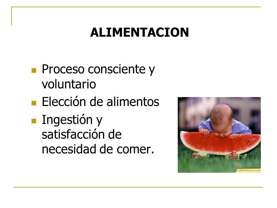 Proceso consciente y voluntario Elección de alimentos Ingestión y satisfacción de necesidad de comer. ALIMENTACION