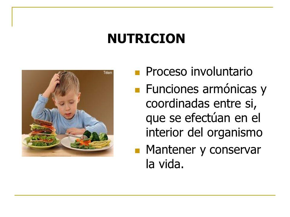 Proceso involuntario Funciones armónicas y coordinadas entre si, que se efectúan en el interior del organismo Mantener y conservar la vida. NUTRICION