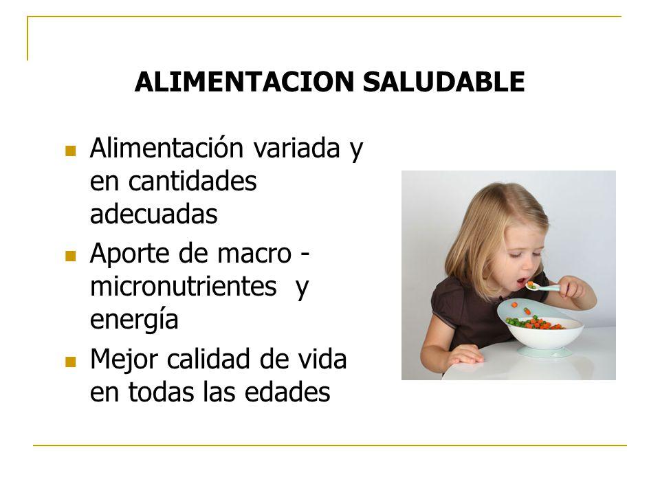ALIMENTACION SALUDABLE Alimentación variada y en cantidades adecuadas Aporte de macro - micronutrientes y energía Mejor calidad de vida en todas las edades