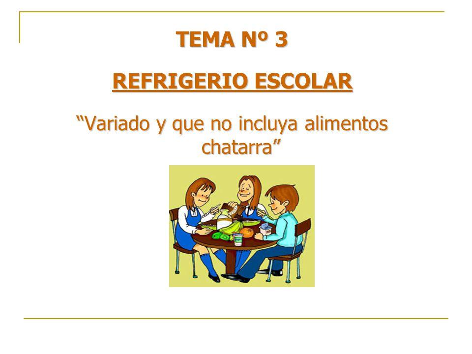 TEMA Nº 3 REFRIGERIO ESCOLAR Variado y que no incluya alimentos chatarra