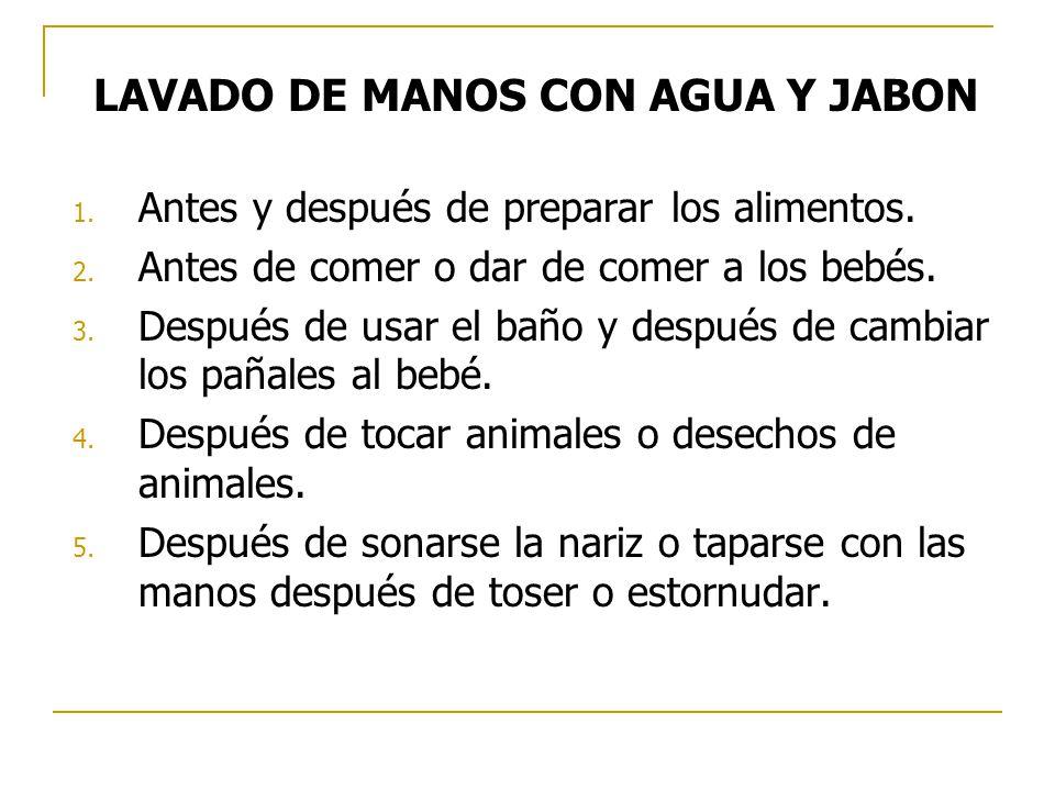 LAVADO DE MANOS CON AGUA Y JABON 1. Antes y después de preparar los alimentos. 2. Antes de comer o dar de comer a los bebés. 3. Después de usar el bañ