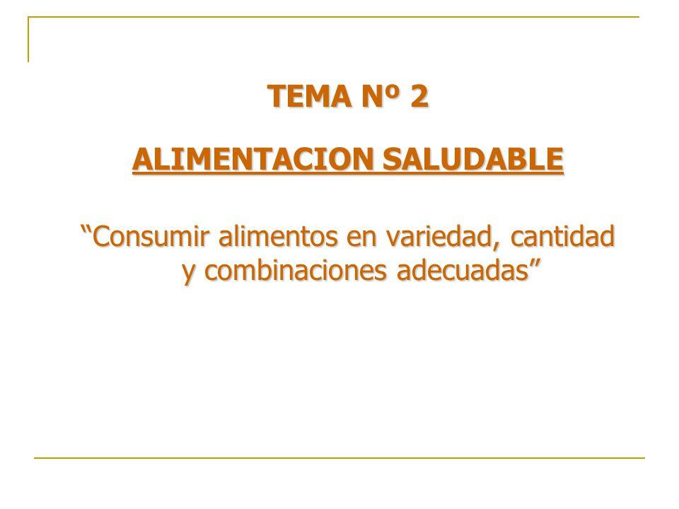 TEMA Nº 2 ALIMENTACION SALUDABLE Consumir alimentos en variedad, cantidad y combinaciones adecuadas